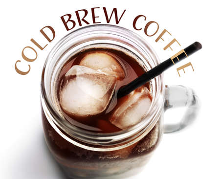 Glass jar of cold brewed coffee on white background Stock Photo