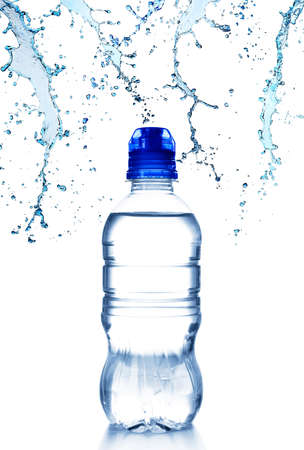 Bottle and water splashes on white background. Concept of clean drink