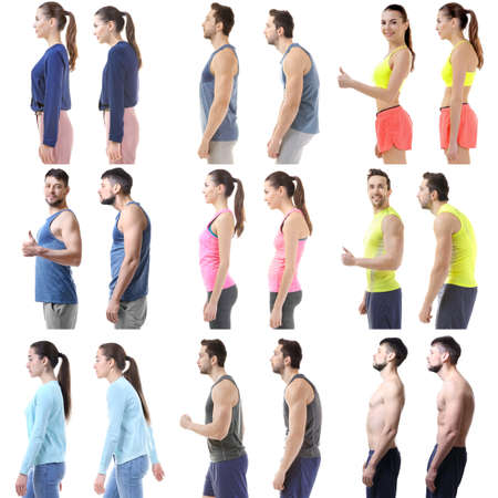 Rehabilitation concept. Collage of people with poor and good posture on white background