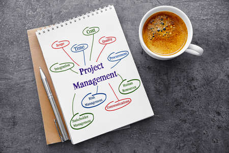 Business concept. Notebook with scheme of PROJECT MANAGEMENT on gray background