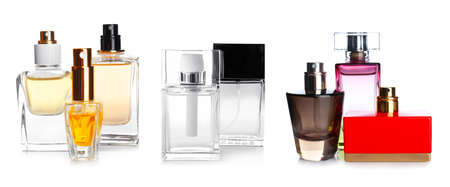 Collection of perfume bottles on white background