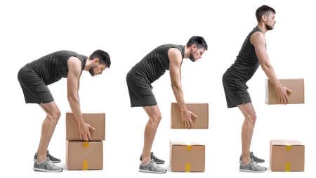 Concepto de rehabilitación. Collage de hombre con mala postura levantando una pesada caja de cartón sobre fondo blanco.