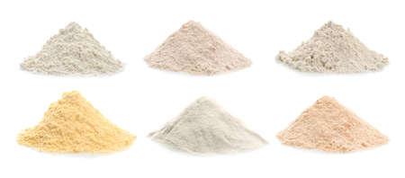 Diferentes tipos de harina en el fondo blanco Foto de archivo - 91437236