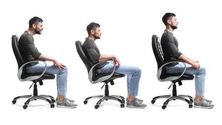 Concepto de rehabilitación. Collage de hombre con mala y buena postura sentado en un sillón sobre fondo blanco. Foto de archivo