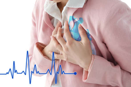 Heart attack concept. Woman suffering from chest pain, closeup Stock Photo