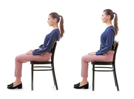 Rehabilitationskonzept. Collage der Frau mit der schlechten und guten Haltung, die auf Stuhl gegen weißen Hintergrund sitzt