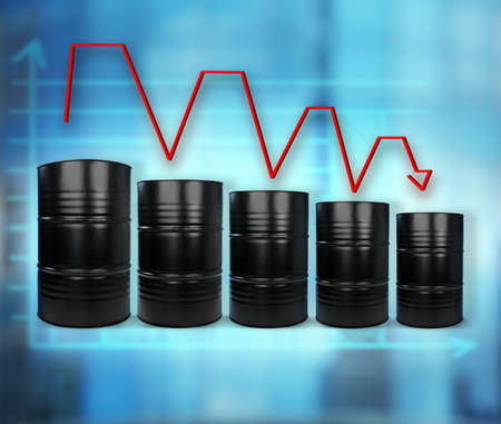 Oil prices concept. Barrels of black gold on blurred background