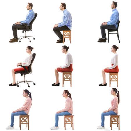 Concetto di riabilitazione. Collage di persone con una cattiva e buona postura seduti su una sedia su sfondo bianco