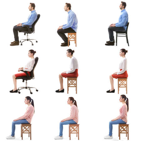 Rehabilitation concept. Collage of people with poor and good posture sitting on chair against white background
