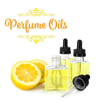Perfume oils concept. Glass bottles and lemon on white background