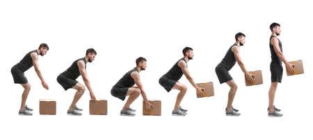 Revalidatie concept. Collage van man met een goede houding tillen van zware kartonnen doos op witte achtergrond Stockfoto