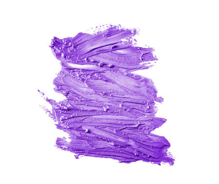 Sample of lilac lipstick on white background Stock Photo