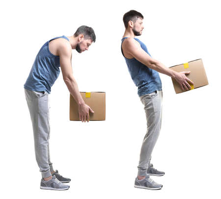 Rehabilitation concept. Collage of man with poor posture lifting heavy cardboard box on white background 스톡 콘텐츠