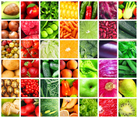 Collage of vegetables, berries and fruits as background