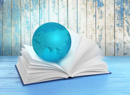 Globe and book on wooden background. World literature concept