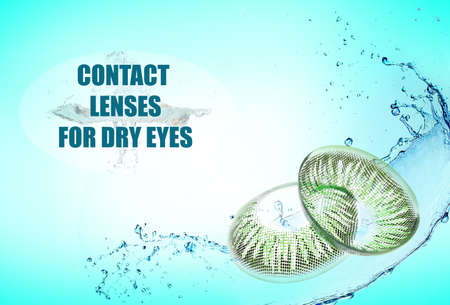 Contact lenses for dry eyes on color background. Eyesight correction concept