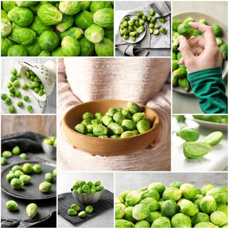 Collage with fresh brussel sprouts