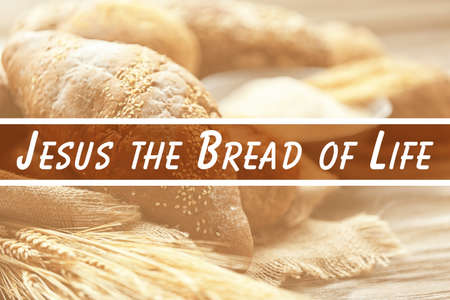 Fresh bread and text, closeup