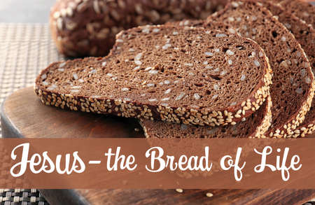Fresh sliced bread and text, closeup