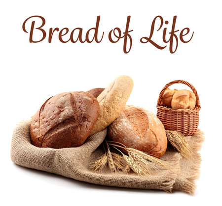 Assortment of bread and text on white background