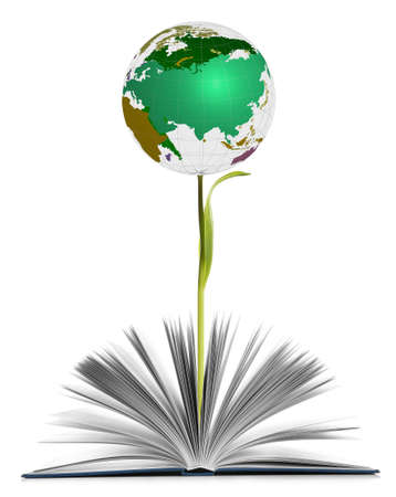 Globe growing out of book as flower on white background. World literature concept