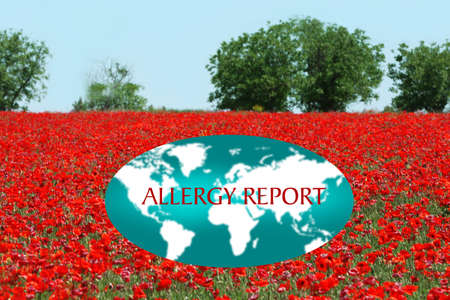 Text ALLERGY REPORT and world map on landscape background