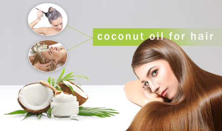 Coconut oil for hair. Young women and cosmetic on color background
