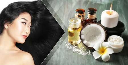 Coconut oil for hair. Young woman and cosmetic as background Stock Photo