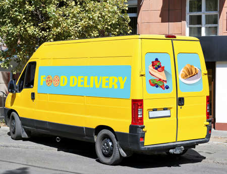 Food delivery concept. Service van parked near sidewalk