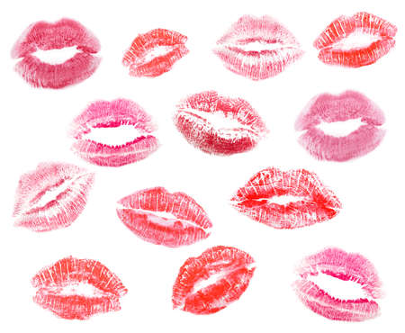Different lipstick prints of women lips on white background