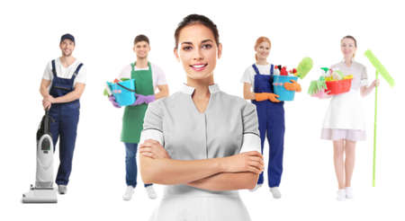 Chambermaid and professional team of cleaning service on white background
