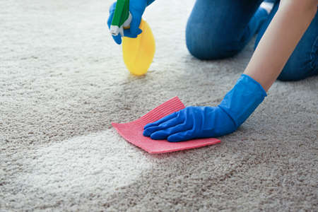 Cleaning service concept. Woman cleaning carpet with detergent and rag, closeup