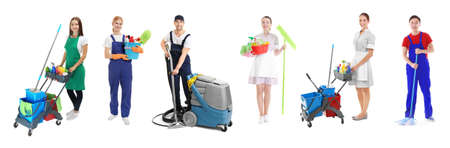 Professional staff of cleaning service on white background Stock Photo