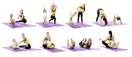 Collage of mother and daughter practicing yoga together on white background. Sport and family concept Stockfoto