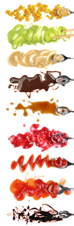 Set of different sauces on white background