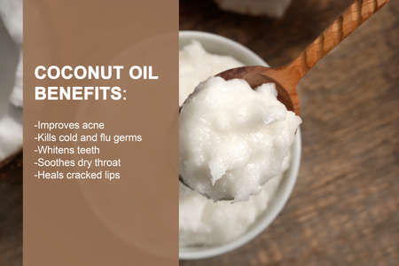 List of benefits and coconut oil on background. Beauty concept