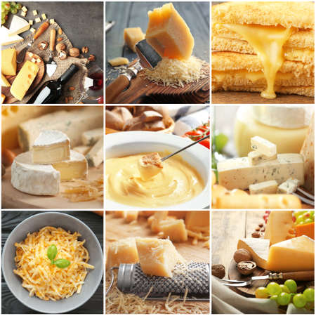 Collage with different kinds of cheese