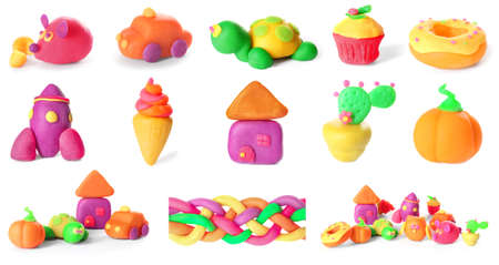 Different figures of play dough on white background Stock Photo