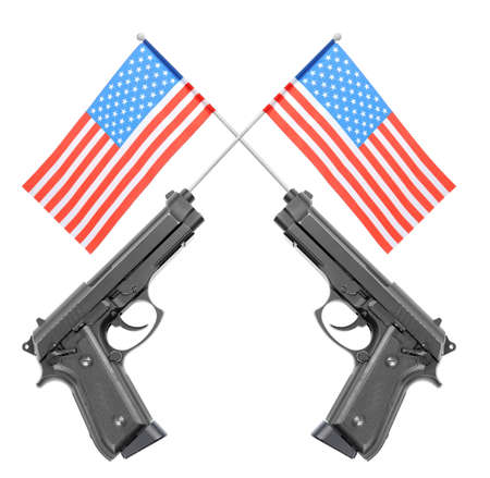 Firearm and American flags on white background. Gun control concept Stock Photo