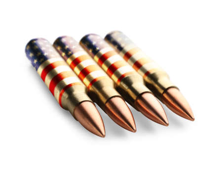 Bullets with pattern of American flag on white background Stock Photo