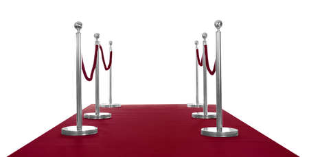 Red carpet and rope barriers on white background Stock Photo