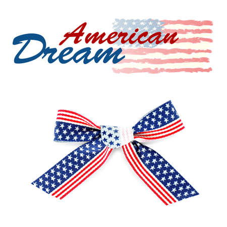 Text AMERICAN DREAM and festive bow on white background Stock Photo