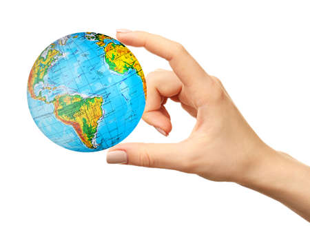 Woman holding globe on white background. Concept of global leadership and geopolitics