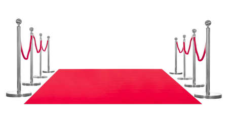 Red carpet and rope barriers on white background