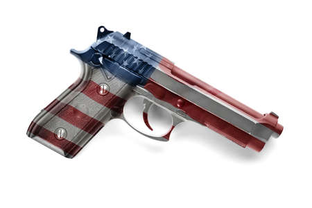 Firearm with pattern of American flag on white background. Gun control concept