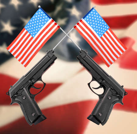 Firearms and American flag on background. Gun control concept