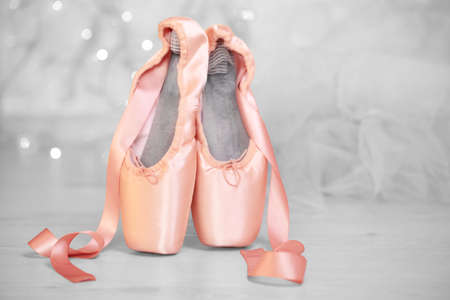 Ballet shoes on floor, closeup