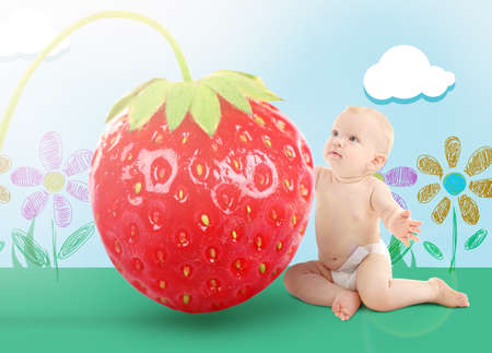 Tiny baby boy with strawberry on drawn background. Childhood and fairy adventure