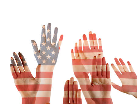 Double exposure of raised hands and American flag on white background. Concept of liberty and democracy Stock Photo