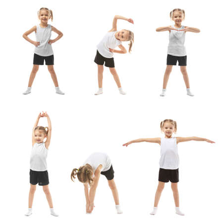 Collage of cute little girl doing gymnastic exercises on white background